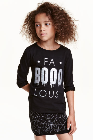 Printed jersey top - Black - Kids | H&M CN 1