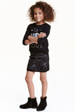 Glittery skirt - Black/Cobweb - Kids | H&M CN 1
