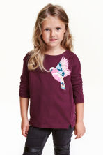 Jersey top with sequins - Burgundy - Kids | H&M CN 1