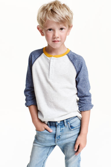 Long-sleeved Henley shirt - Light grey marl - Kids | H&M CN 1