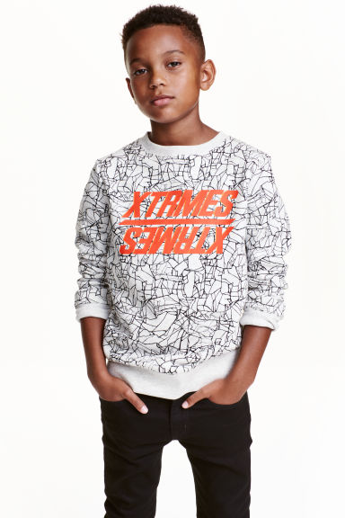 Printed sweatshirt - Light grey marl - Kids | H&M CN 1