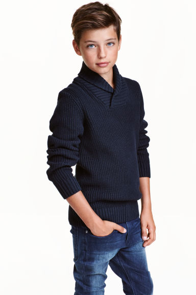 Jumper with a shawl collar - Dark blue -  | H&M CN 1