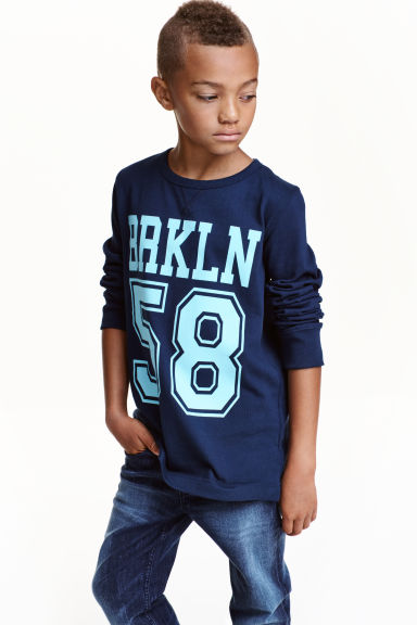 Printed jersey top - Dark blue/Brooklyn - Kids | H&M CN 1
