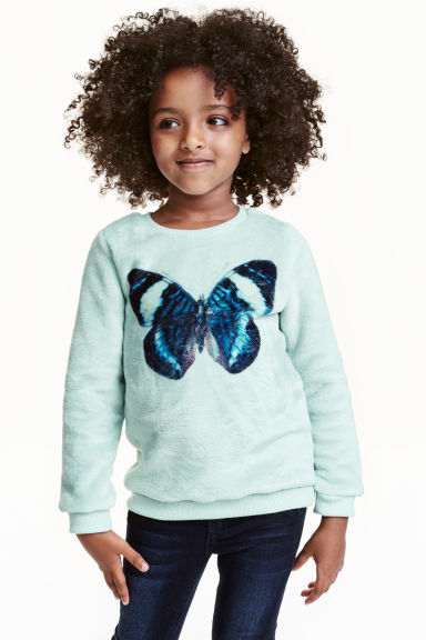Plush jumper with a print - Mint green/Butterfly - Kids | H&M CN 1