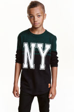 Knitted cotton jumper - Black/New York - Kids | H&M CN 1