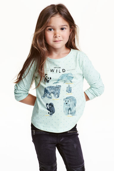 Printed jersey top - Mint green/WWF - Kids | H&M CN 1
