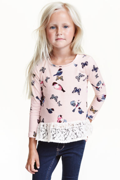 Top with a lace flounce - Light pink/Butterflies - Kids | H&M CN 1