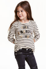 Jersey top with sequins - Light beige/Striped - Kids | H&M CN 1