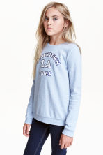 Printed sweatshirt - Light blue marl - Kids | H&M CN 1