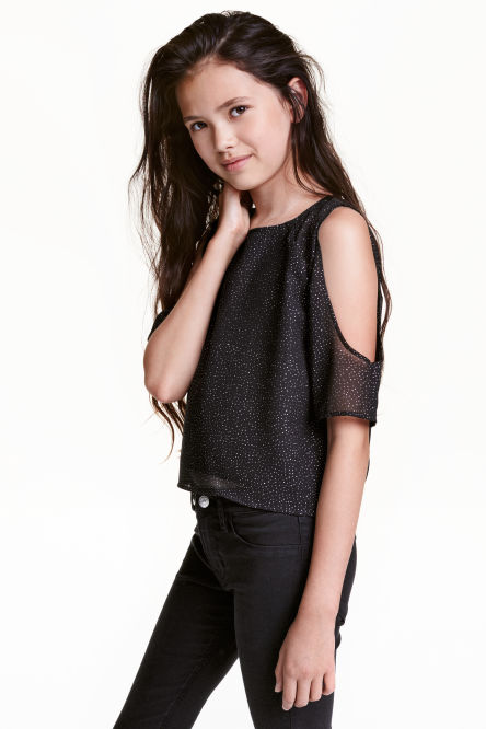 Glittery cold shoulder top