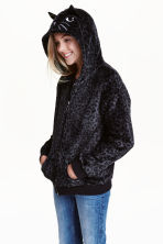Hooded plush jacket - Dark grey/Black - Kids | H&M CN 1