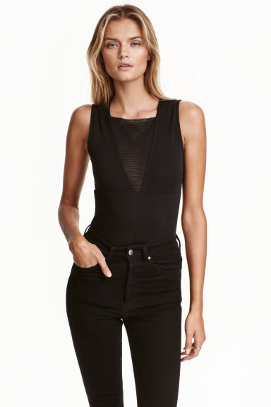 Sleeveless jersey body - Black - Ladies | H&M CN 1