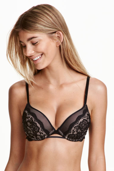 Lace super push-up bra - Black/Powder - Ladies | H&M CN