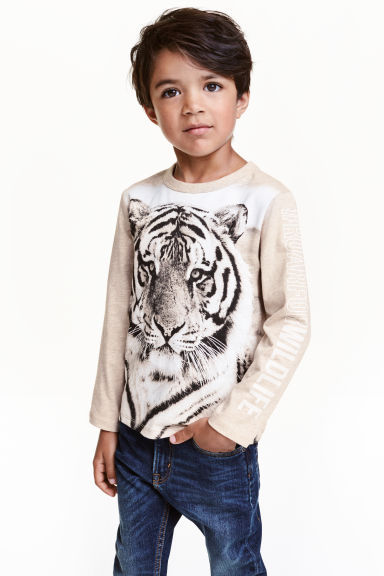 Long-sleeved T-shirt - Beige/WWF - Kids | H&M CN