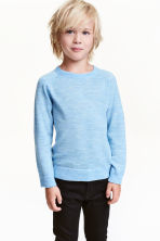 Fine-knit merino wool jumper - Light blue marl - Kids | H&M CN 1