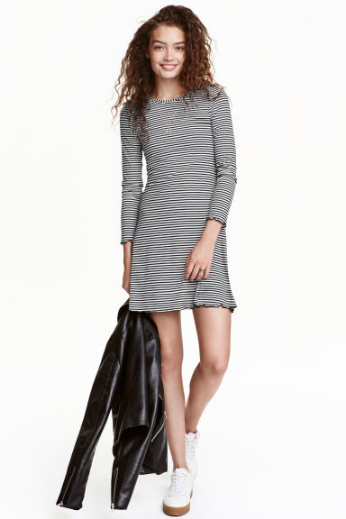 Jersey dress - Black/White/Striped - Ladies | H&M CN 1