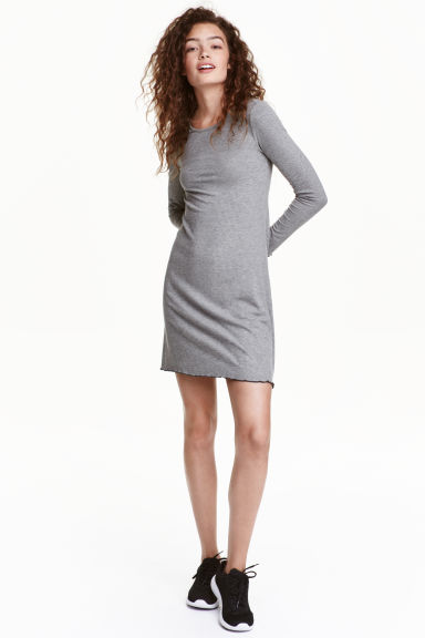 Jersey dress - Grey - Ladies | H&M CN