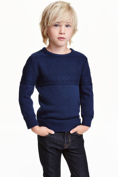 Knitted jumper in pima cotton - Dark blue - Kids | H&M CN 1