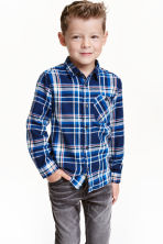 Flannel shirt - Dark blue/Checked - Kids | H&M CN 1