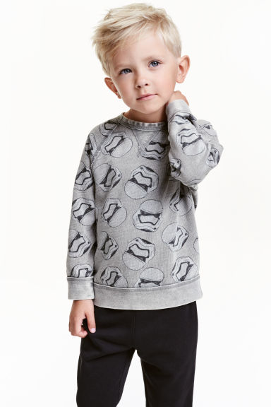 Printed sweatshirt - Grey/Star Wars - Kids | H&M CN 1