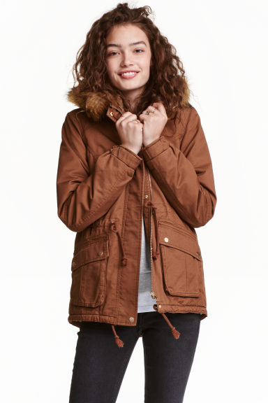 Pile-lined parka - Rust brown - Ladies | H&M CN 1