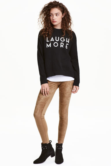 Imitation suede leggings - Beige - Ladies | H&M CN 1