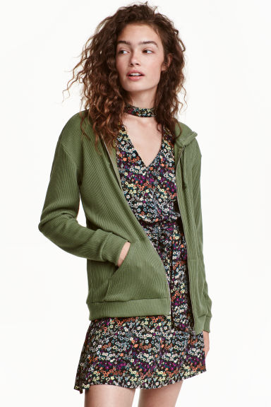 Rib-knit hooded jacket - Khaki green -  | H&M CN