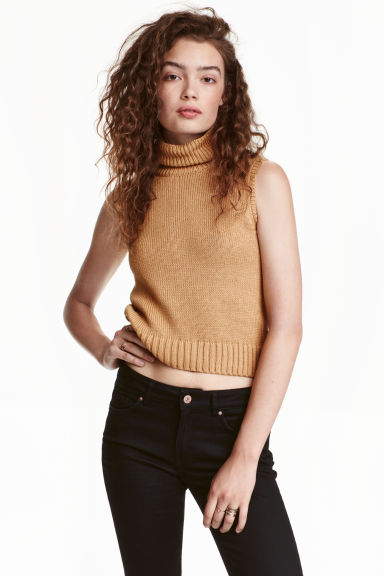 Sleeveless polo-neck jumper - Beige - Ladies | H&M CN 1