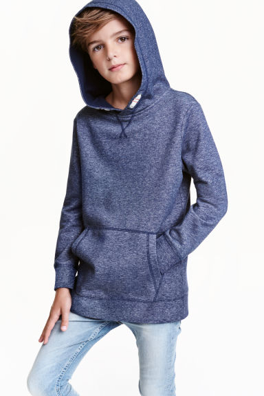 Hooded top - Dark blue marl - Kids | H&M CN 1