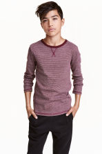 Long-sleeved T-shirt - Burgundy/Narrow striped - Kids | H&M CN 1