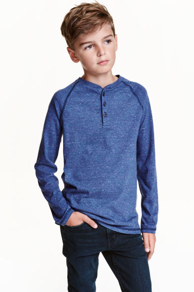 Long-sleeved T-shirt - Blue marl - Kids | H&M CN 1