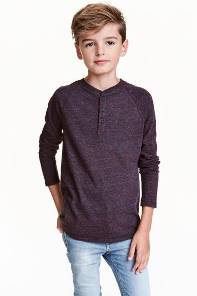 Long-sleeved T-shirt - Dark purple marl - Kids | H&M CN