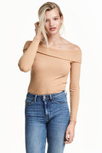 Off-the-shoulder top - Beige - Ladies | H&M CN 1