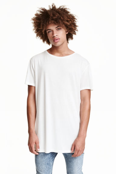 Lang T-shirt - Wit - HEREN | H&M NL 1