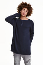 Rib-knit Henley jumper - Dark blue - Men | H&M CN 1