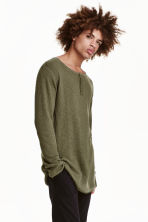 Rib-knit Henley jumper - Khaki green - Men | H&M CN 1
