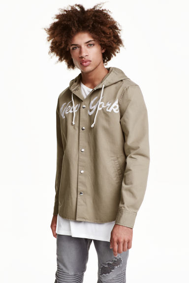 Shirt jacket with a hood - Khaki green/New York - Men | H&M CN 1
