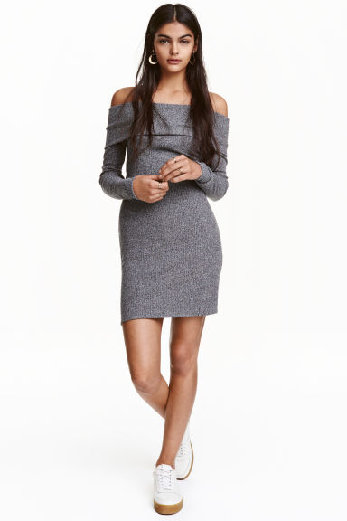 Off-the-shoulder dress - Grey marl - Ladies | H&M GB 1