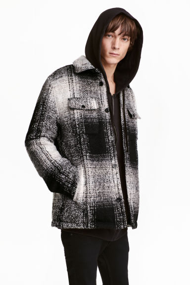 Padded shirt jacket - Black/Checked - Men | H&M CN 1