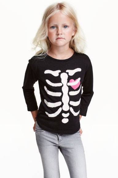 Fine-knit printed jumper - Black/Skeleton - Kids | H&M CN 1