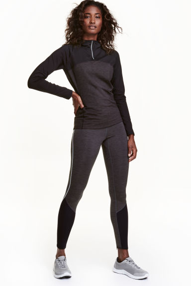 Winter running tights - Dark grey marl - Ladies | H&M CA 1
