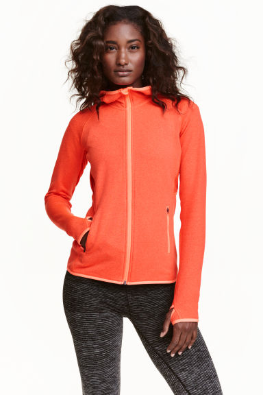 Fleece jacket with a hood - Orange marl - Ladies | H&M CN 1