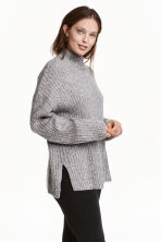 Chunky-knit turtleneck jumper - Grey marl - Ladies | H&M GB 1