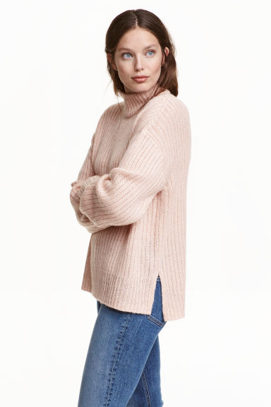 Chunky-knit turtleneck jumper - Powder marl -  | H&M GB 1