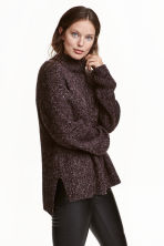 Chunky-knit turtleneck jumper - Dark purple marl - Ladies | H&M GB 1