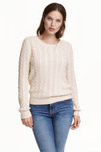 Cable-knit jumper - Natural white -  | H&M CN 1