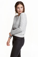 Cable-knit jumper - Grey marl -  | H&M CN 1