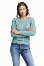 Cable-knit jumper - Turquoise -  | H&M CN 1