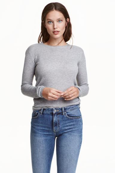 Ribbed top - Grey marl -  | H&M CN 1
