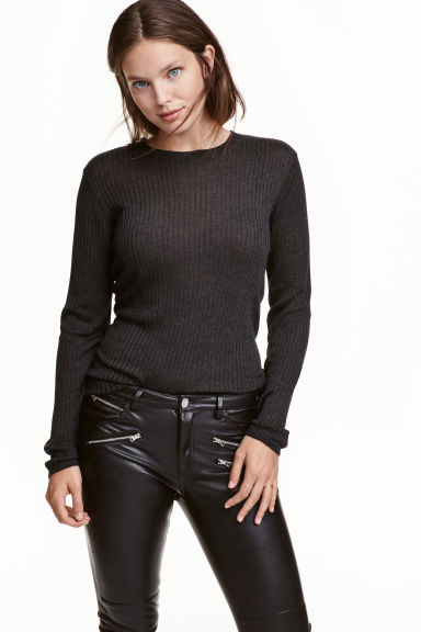 Ribbed top - Dark grey marl - Ladies | H&M CN 1